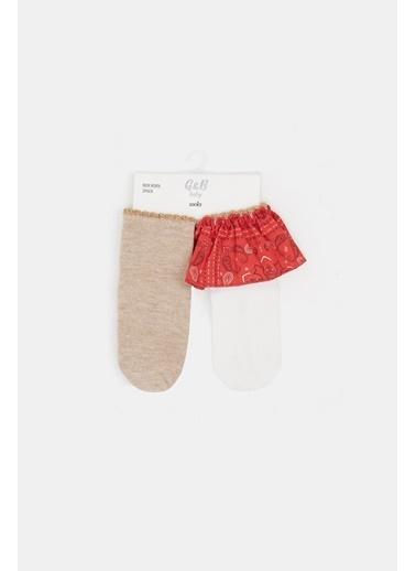 BG Baby Kız Bebek Renkli 2Li Çorap 20Pfwbg2084 Renkli